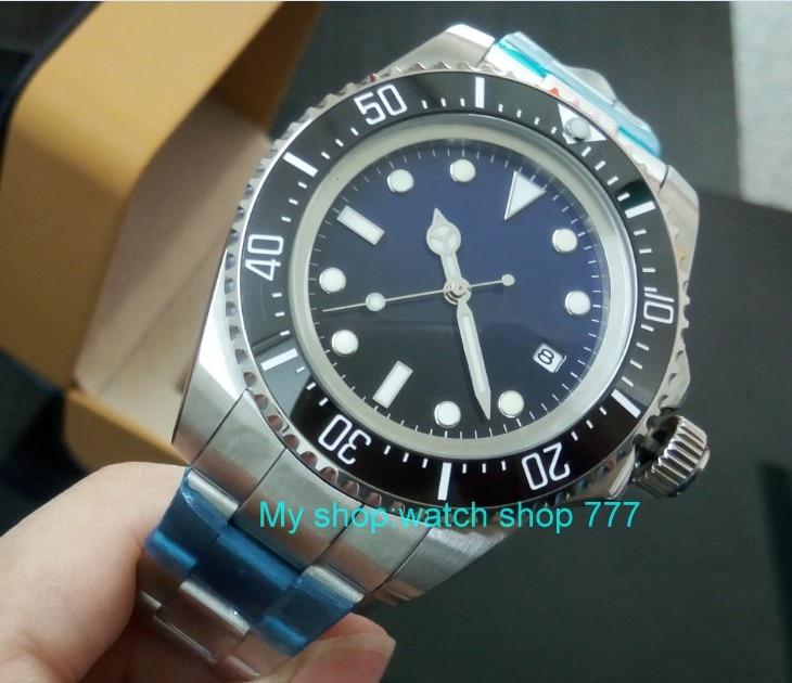 43mm PARNIS blue&black dial Black ceramic Bezel Automatic Self-Wind movement Men Watch luminous Mechanical watches 368 цена и фото