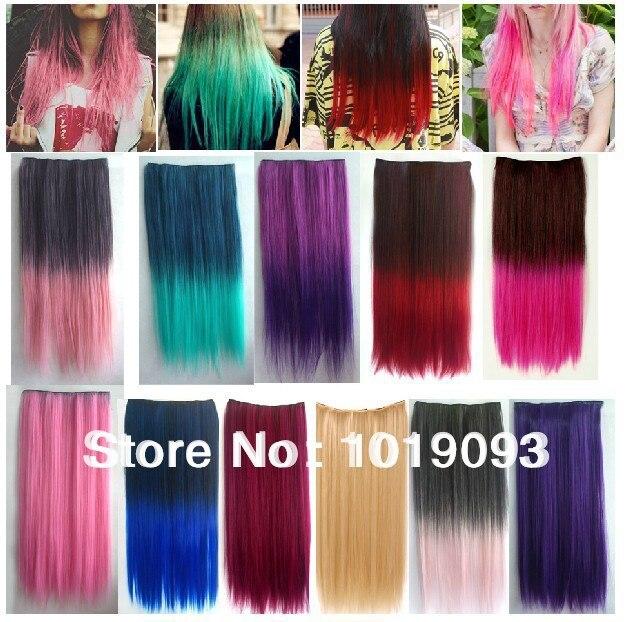 Fashion Women Long Straight Hair Gradient Style False Color Five