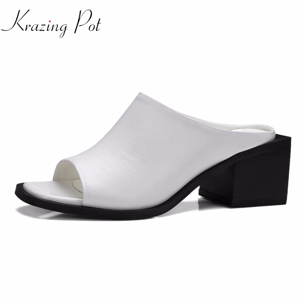 Krazing pot genuine leather square peep toe slip on fashion plus size women sandals women high heels mixed gorgeous shoes L51 2017 krazing pot new women pumps slip on high heels genuine leather square toe simple rome style solid color superstar shoes 1 2