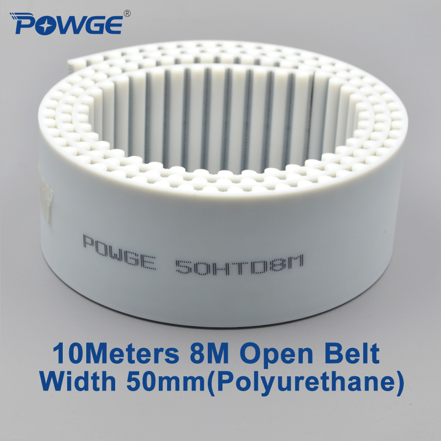 POWGE 10meters PU White HTD 8M Open Timing belt 8M 50mm Width 50mm Polyurethane steel Arc Tooth 50HTD8M Synchronous Belt pulley