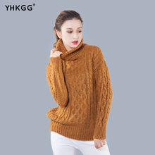 YHKGG 2017 New Women Knitted Turtleneck Pullover Sweater Solid Colors Thick Hemp Pattern Sweaters Damen