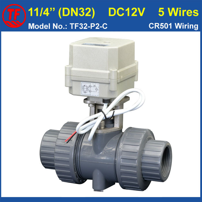 2 Way DN32 PVC 11/4'' Electric Motorized Valve DC12V 5 Wires With Signal Feedback 10NM On/Off 15 Sec Metal Gear CE TF32-P2-C dn20 electric pvc valve tf20 p2 c ac110v 230v 4 wires bsp npt 3 4 pvc motorized valve 10nm on off 15 sec metal gear ce ip67