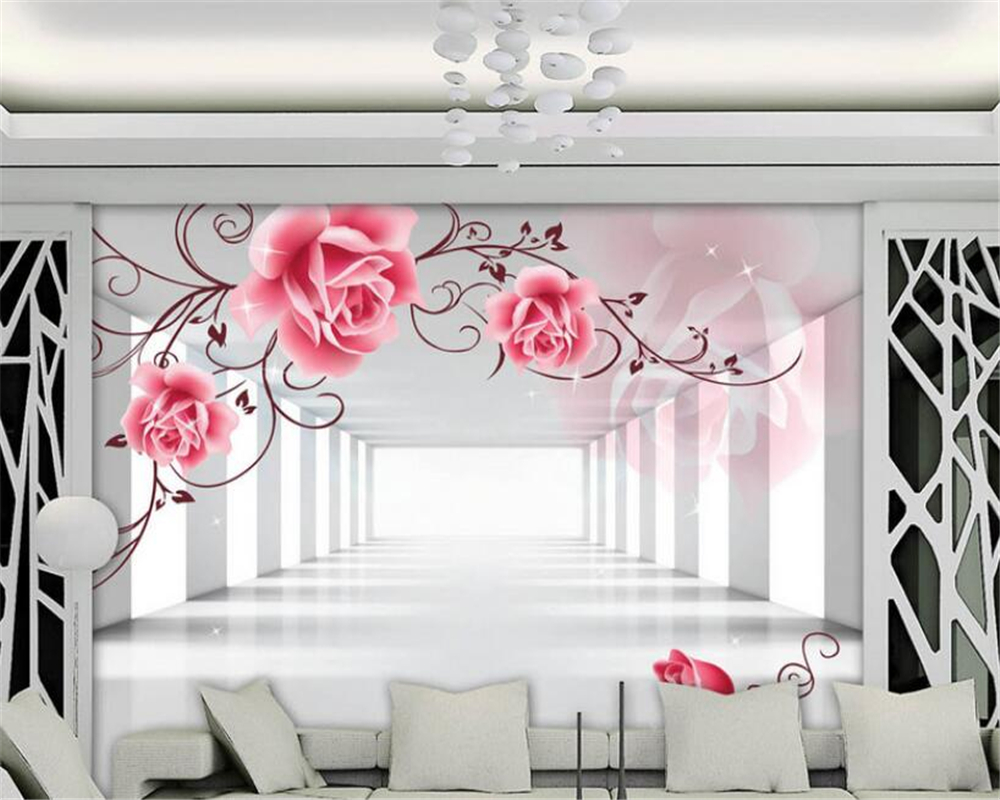 Beibehang Custom Wallpaper 3D Stereo Murals Rose Vine TV Background Wall Living Room Bedroom Mural wallpaper for walls 3 d custom baby wallpaper snow white and the seven dwarfs bedroom for the children s room mural backdrop stereoscopic 3d