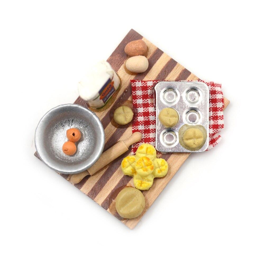 1:12 Dollhouse Eggs Food Kitchen Miniature Milk Bread On Board Mini Furniture Model Pastry Station Toy Decor