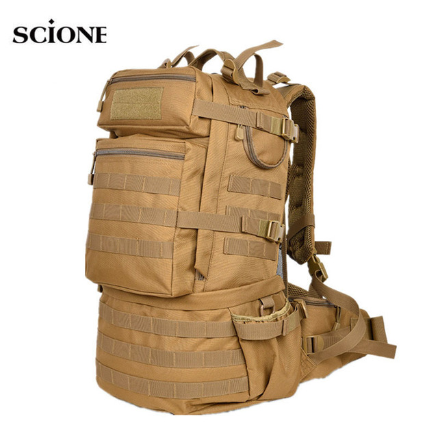 8d6cea328fe 50L Travel Military Tactical Backpack Men Bag Sports Ruckpack Army Shoulder  Bags Camping Outdoor Hiking Mochila Molle XA687WA