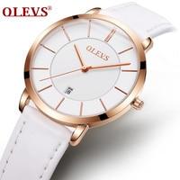 OLEVS Ultra Cienkie Białe Zegarki Dla Kobiet Data Dial Złota Róża Kolor Case Skórzany Pasek Wodoodporny Zegarek Kwarcowy Damskie 5869