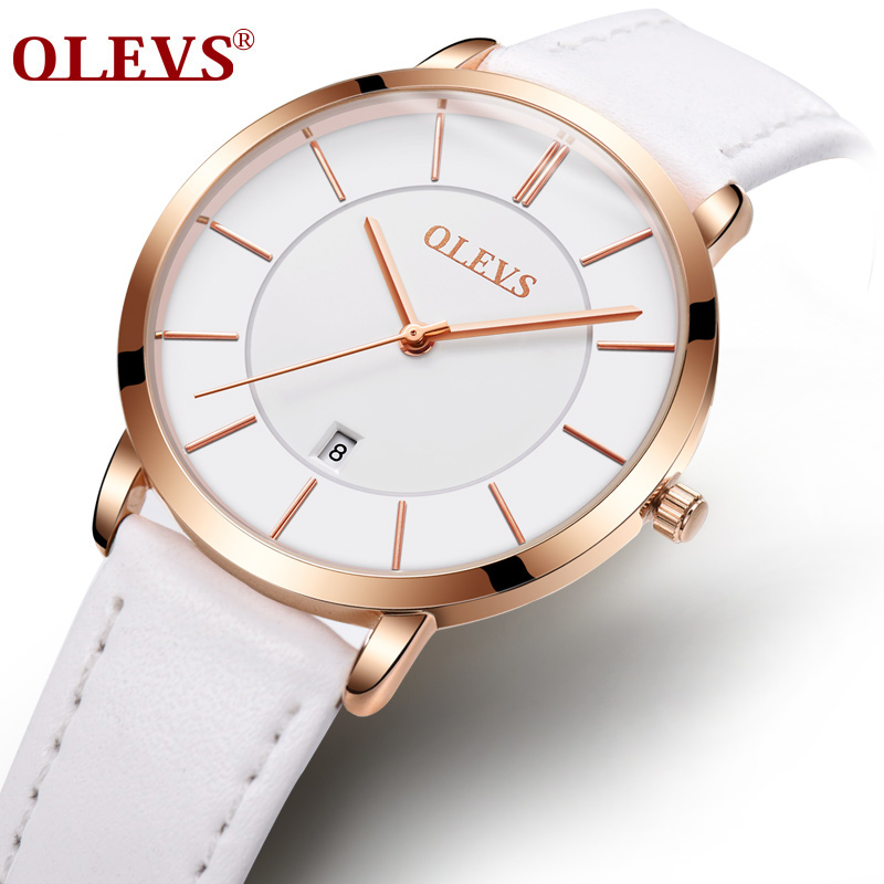 OLEVS Ultra Thin White Watches For Women Date Dial Rose Gold Color Case Leather Strap Waterproof Ladies Quartz Wristwatch 5869 olevs ultrathin rose gold watch for women calendar mesh steel strap wristwatch dial quartz ladies watches relogio feminino 5869