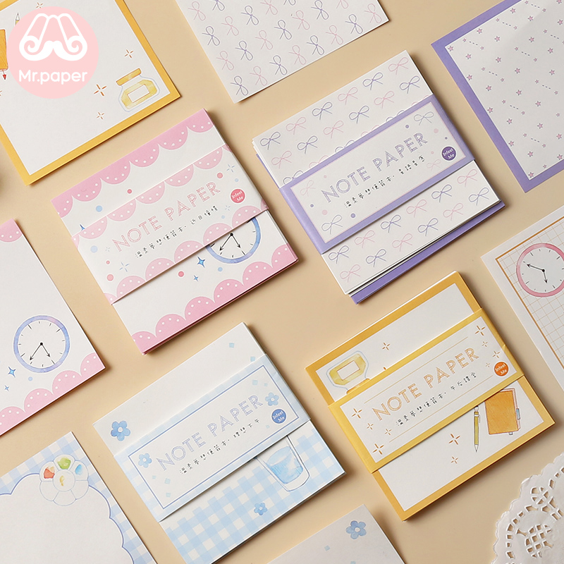 Mr Paper 30pcs/lot 16 Designs Cute Square Colorful Memo Pads Loose Leaf Notepad Diary Writing Points Creative Notes Memo Pads