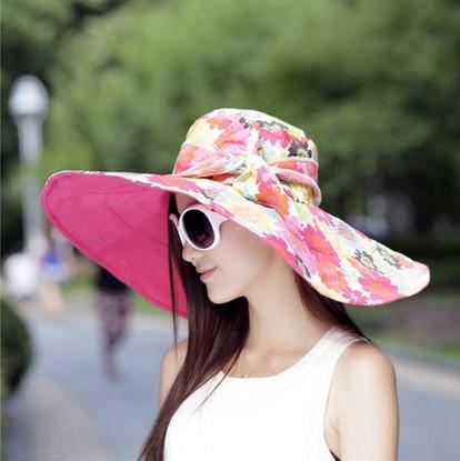 De las mujeres del verano grande a lo largo sunbonnet anti-uv sombrero grande del borde casquillo de la playa de gran tamaño doble cara plegable sunhat envío gratis