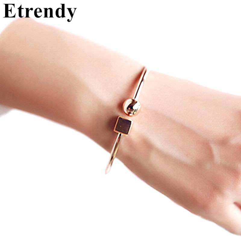 Fashion Circle Square Open Bracelet Women Street Taste Geometry Bracelets & Bangles Jewelry Bijoux Rose Gold-color