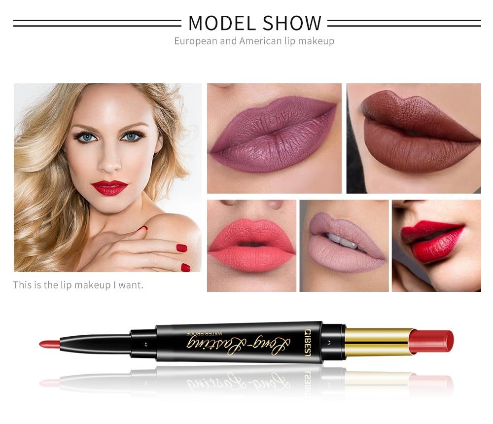 QIBEST 2 In 1 Double Head  Lip Liner Pencils Lipstick Waterproof Long Lasting moisturizing Pigments Nude Color TSLM1 2