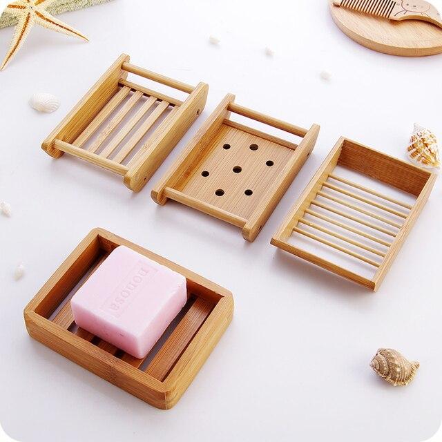Творческий мыло ручной работы держатель слив мыльницей простой бамбук ванная комната туалет мыльницей Японский деревянный мыльница