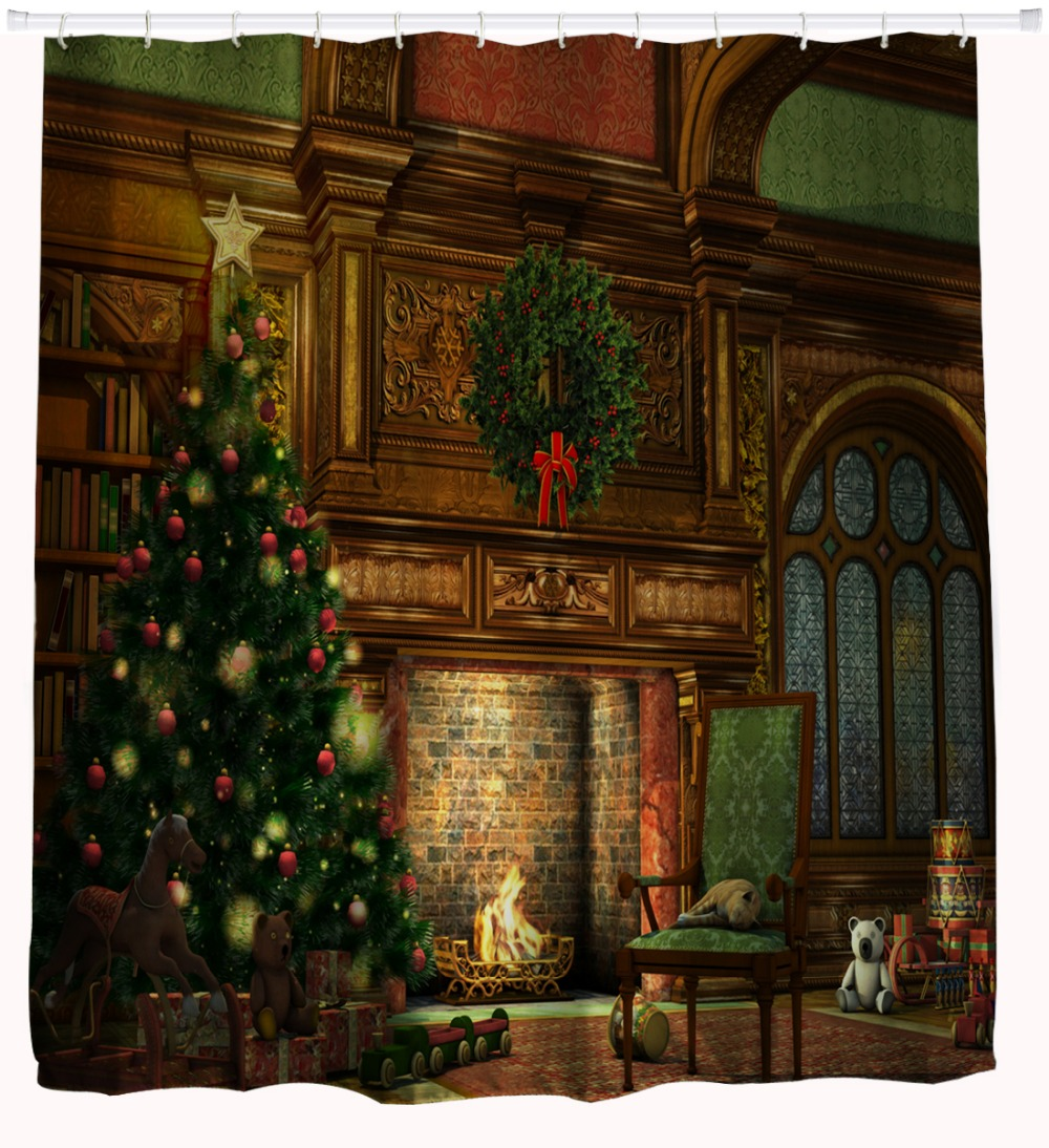Ansprechend Amerikanischer Kamin Foto Von 3d Wasserdicht Duschvorhang Polyester Bad Decor Weihnachtsbaum