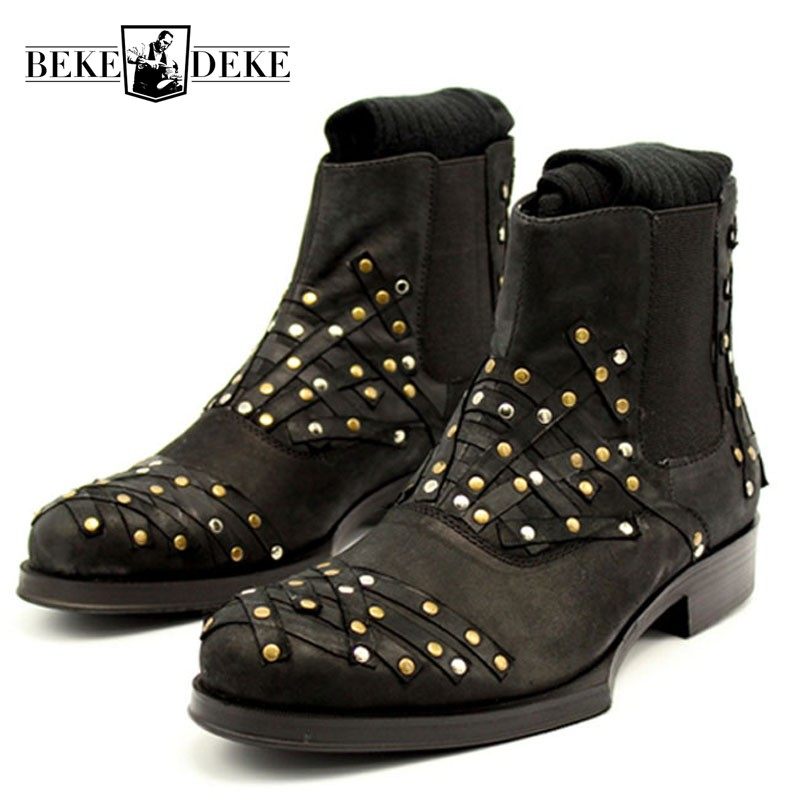 2018 Winter High Top Ankle Boots Men Beading Riveted Strip Patched Chelsea Boots Slip On Punk Genuine Leather Motorcycle Shoes riveted