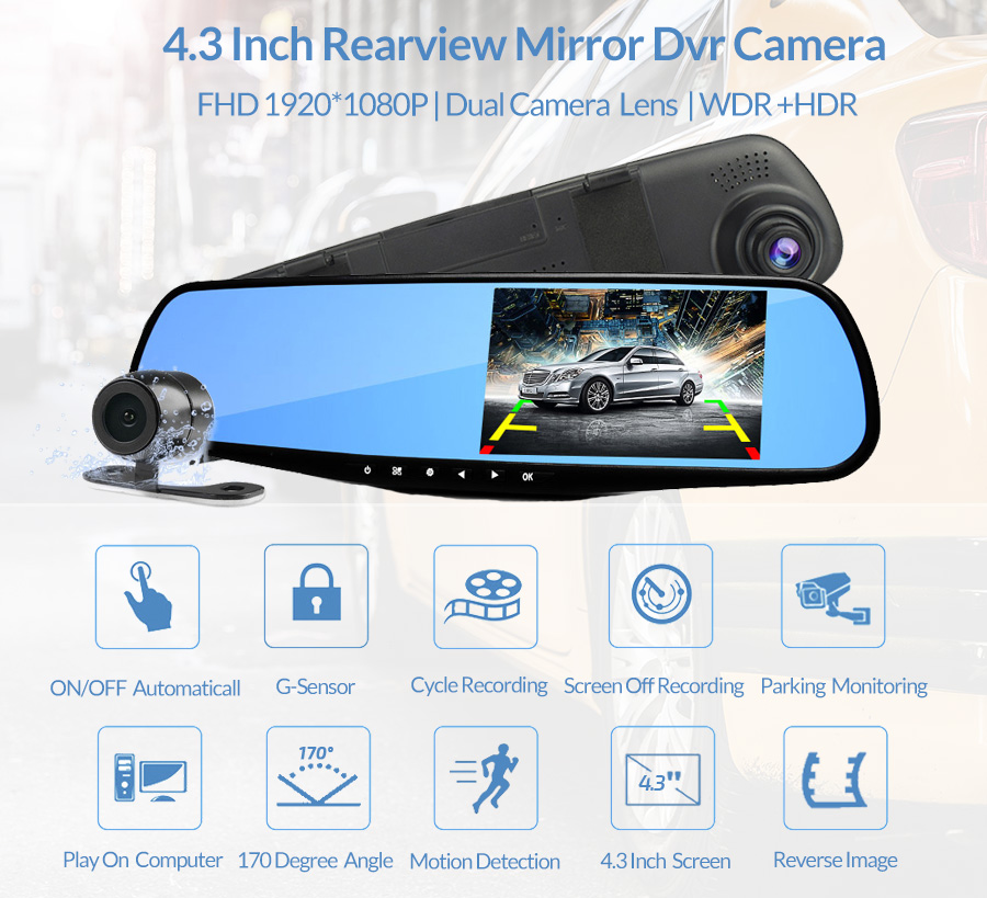 E-ACE Car Dvr FHD 1080P Dash Camera 4.3 дюймдік Rearview - Автомобиль электроникасы - фото 3