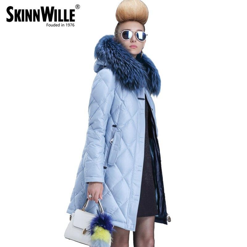 SKINNWILLE 2017 collection hiver Blanc duvet de canard même la jugulaire colliers Femme en longue Bouleversé doudoune
