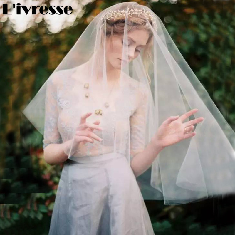 Short One Layer No Combs Soft Net Wedding Veils Bridal Headpiece - Bruiloft accessoires