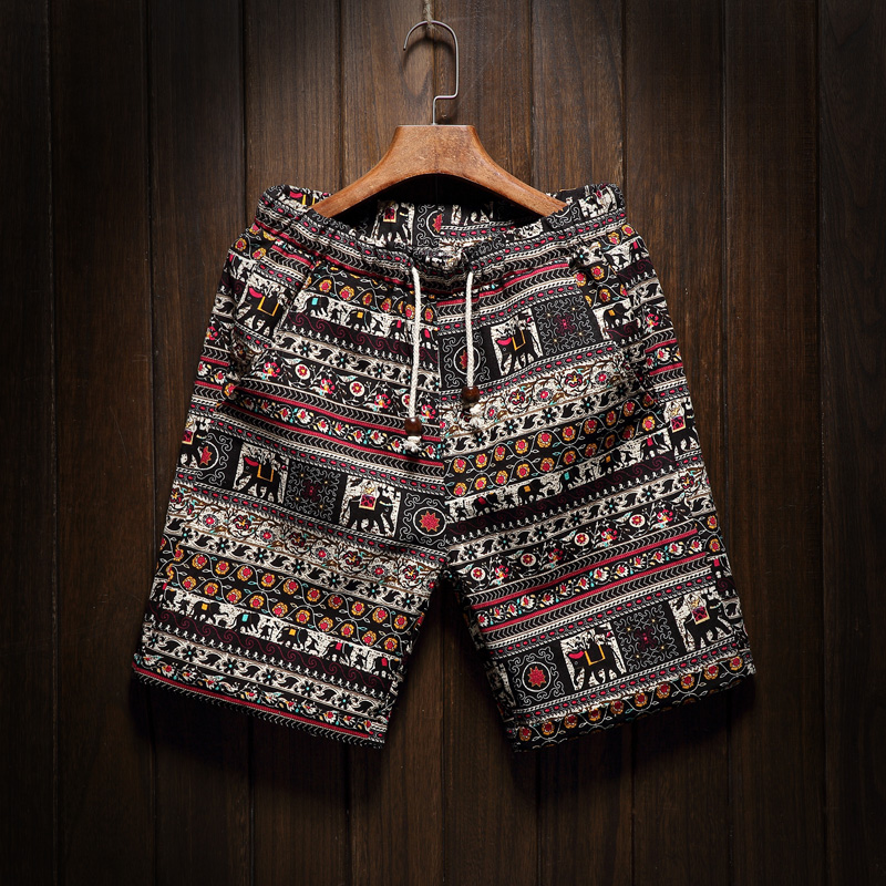 Male Large Size M-5XL Summer New Mens Fashion Boutique Linen Cotton Printing Casual Beach   Shorts   Ethnic Style Men Leisure   Shorts