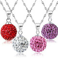 100% 925 sterling silver Shamballa Jewelry Pendant Necklaces, White New Shamballa Necklaces Micro Pave CZ Disco Ball Beads