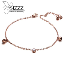 Stainless Steel Beach Jewelry Women s Fashion Rose Gold Ankle Bracelet