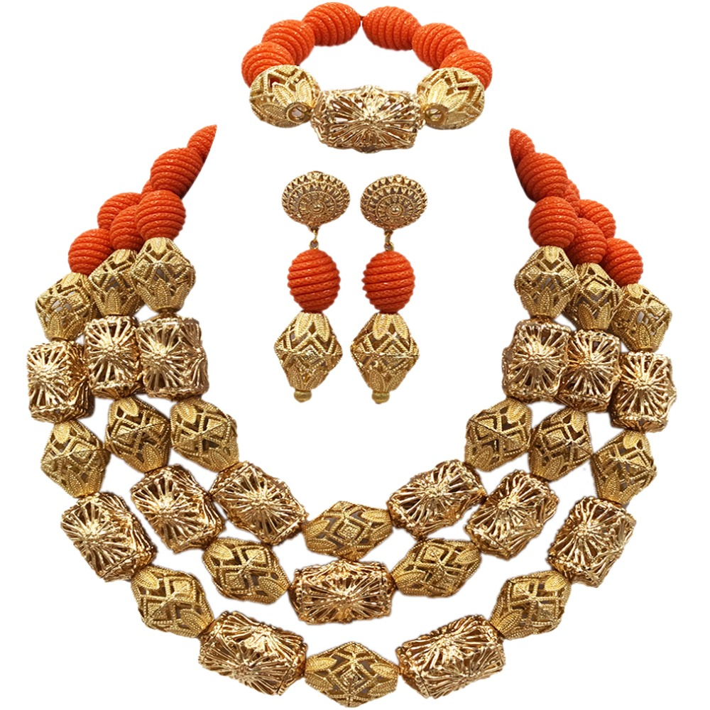Fabulous Orange Artificial Coral Beads Necklace Nigerian Wedding African Beads Jewelry Set Bridal Jewelry Sets ACB-17Fabulous Orange Artificial Coral Beads Necklace Nigerian Wedding African Beads Jewelry Set Bridal Jewelry Sets ACB-17