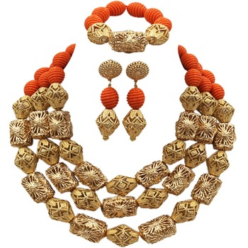 Fabulous Orange Artificial Coral Beads Necklace Nigerian Wedding African Beads Jewelry Set Bridal Jewelry Sets ACB-17