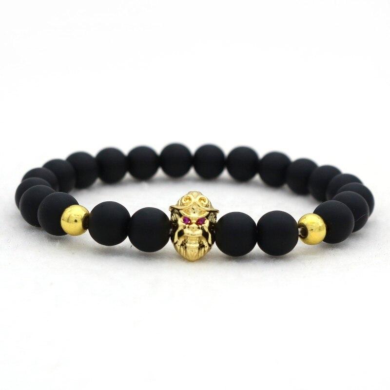 6524b88a50b9 Cute Bear Brand New Gold Hoop Spell Monkey King Men Bracelet Fashion 8mm  Natural Frosted Matte Stone Beaded Bracelet Men Jewelry