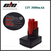 ELEOPTION 12 V 3000mA Oplaadbare Li batterij voor Milwaukee M12 XC batterij 48-11-2401, 48-11-2402, C12 B, C12 BX, M12