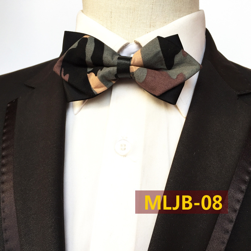 Fashion Camouflage Sharp Corner Bowtie , The Bow Tie Is Pre Tied And Hand Stitched Into Place