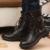 Alta calidad 2017 de La Moda Clásica de Lujo de Los Hombres Ocasionales del Cuero Genuino Botines Botines Negros Para Los Hombres de Negocios Zapatos Masculinos