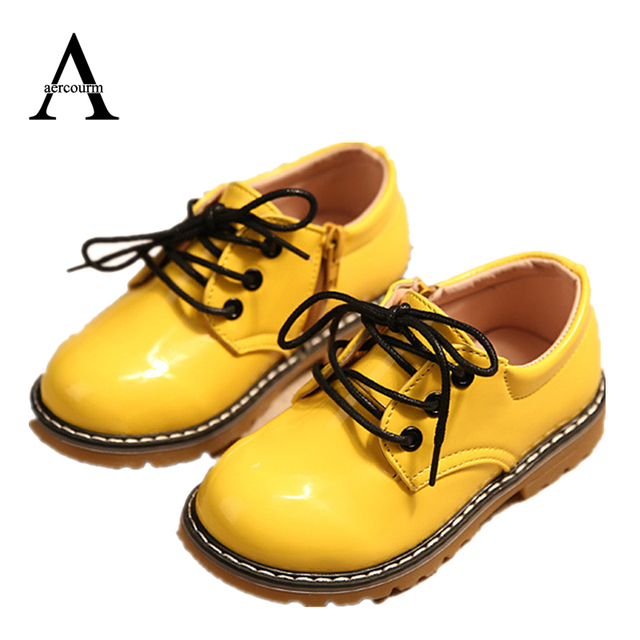 Aercourm A 2017 Spring Boys Bright Leather Shoes Round Boy Girls Shoes Children Boots Casual Sneakers Kids Lace Waterproof Shoes