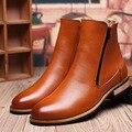 Estilo británico de Los Hombres Botas Primavera Otoño Tobillo Ocasional Botas de Cuero zapatos de Moda Martin Botas Botas de Los Hombres de Marca de Alta Calidad Negro 8