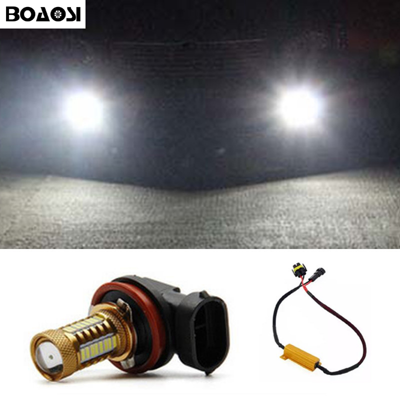 BOAOSI 1x Super White H8 H11 CREE Chip 4014 LED Fog Light Driving Bulbs No Error for Skoda Octavia 2010-2014 boaosi 1x h11 high power led light 4014 33smd 30w fog light driving drl car light no error for bmw e71 x6 m e70 x5 e83 f25 x3