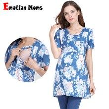 T-Shirt Maternity-Nursing-Top Pregnancy-Clothes Breastfeeding Women Floral Long Modal