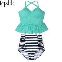 2016 New Plus Size Swimsuit High Waist Swimwear Women Print Colorful Vintage Retro Fat Bathing Suit