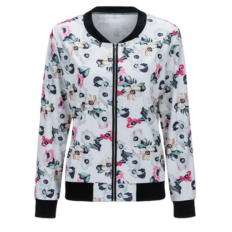 Free Ostrich Floral Print Zipper Bomber Jacket Women Casual Female Long Sleeve Autumn Jackets Coat Outwear casaco feminino D35
