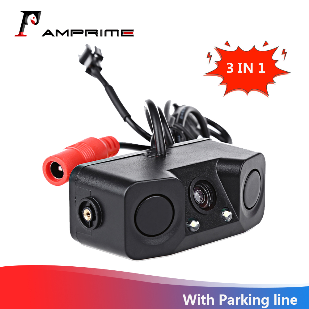 AMPrime 3 IN 1 Waterproof Video Parking Sensor Car Reverse Backup Rear View Camera With 2 Radar Detector Sensors BiBi Alarm
