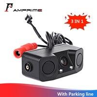 AMPrime 3 w 1 wodoodporny czujnik wideo parkowania samochodu rewers Backup kamera tylna z 2 wykrywacz radarów czujniki BiBi Alarm w Kamery pojazdowe od Samochody i motocykle na