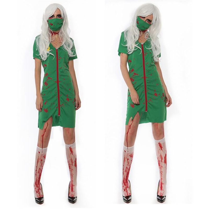 2018 Women Lady Bloody Mary Nurse Cosplay Costume Adults Stage Performance Costumes Masquerade Party Dress Supplies Purim