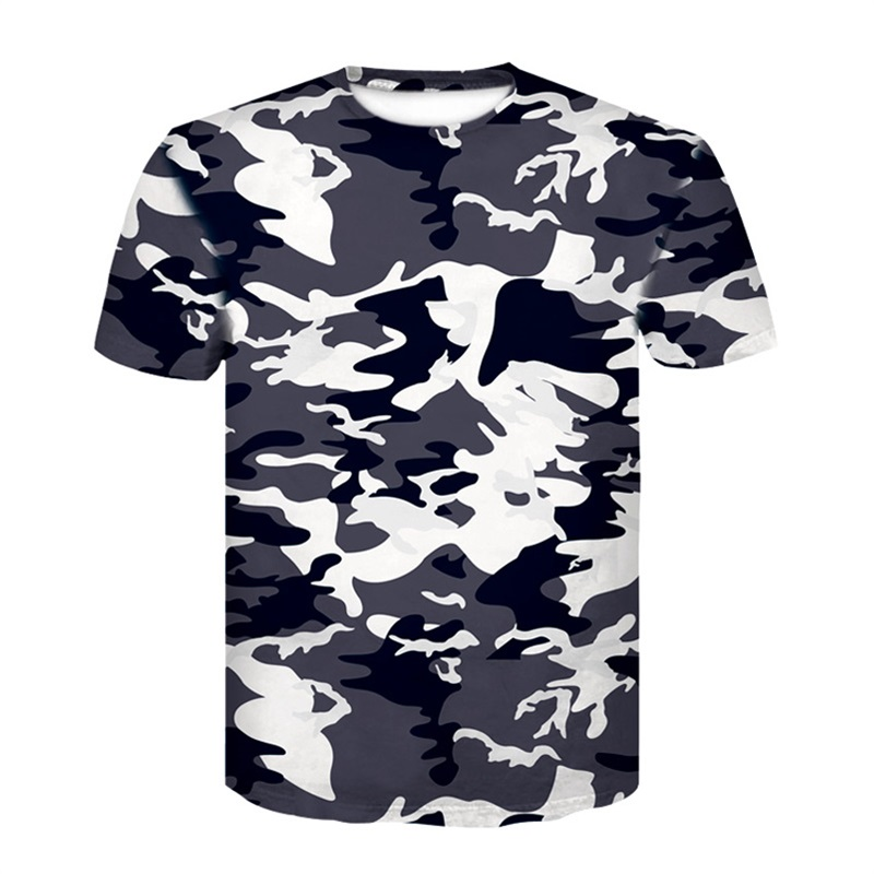 New Camouflage T-shirt Men Breathable Army Tactical Combat T Shirt Military Dry  Camp Tees Green 3D T-shirt