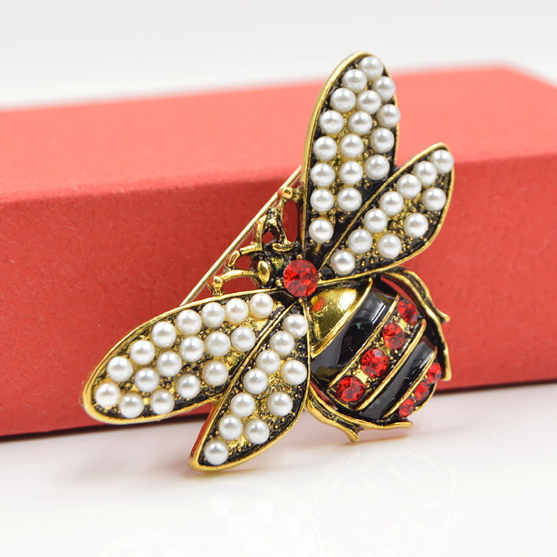 CINDY XIANG 2 Colors Choose Rhinestone and Pearl Bee Brooches for Women Vintage Jewelry Fashion Insect Brooch Pin High Quality 4