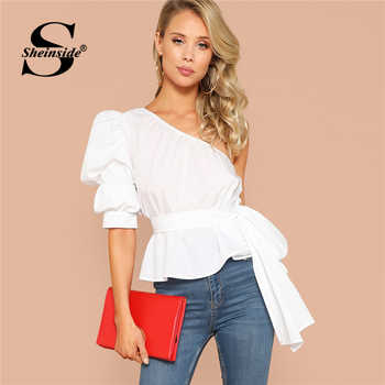 Sheinside One Shoulder Puff Sleeve Sexy Blouse Asymmetric Belted Solid Peplum Top 2019 White Summer Blouses Elegant Women Tops - DISCOUNT ITEM  45% OFF All Category