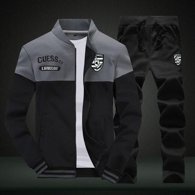 Riinr Brand New Men Sets Fashion Autumn Spring Sporting Suit Sweatshirt +Sweatpants Mens Clothing 2 Pieces Sets Slim Tracksuit 1