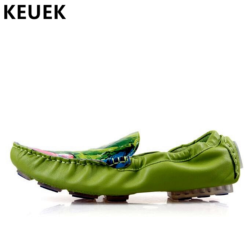Summer Men shoes Fashion Graffiti Genuine leather Loafers Male Flats Soft Comfortable Driving shoes Breathable Boat