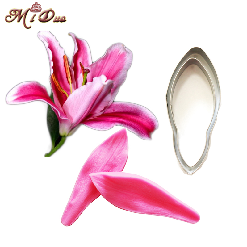 Lily Petal Silicone Veiner & Cutter Flower Petal Cutter Fondant Sugarcraft Stainless Steel Cutter Cake Decorating Molds