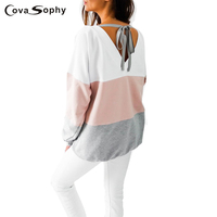 Cova Sophy Women Blouses 2017 Autumn Long Sleeve Striped Casual Loose Back V Neck Tops