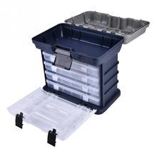 Multifunctional Organized 27 * 26.5 * 17.5cm Fishing Tackle Box 4 Layers Plastic Fishing Lure Box Fly Fishing Tackle Box