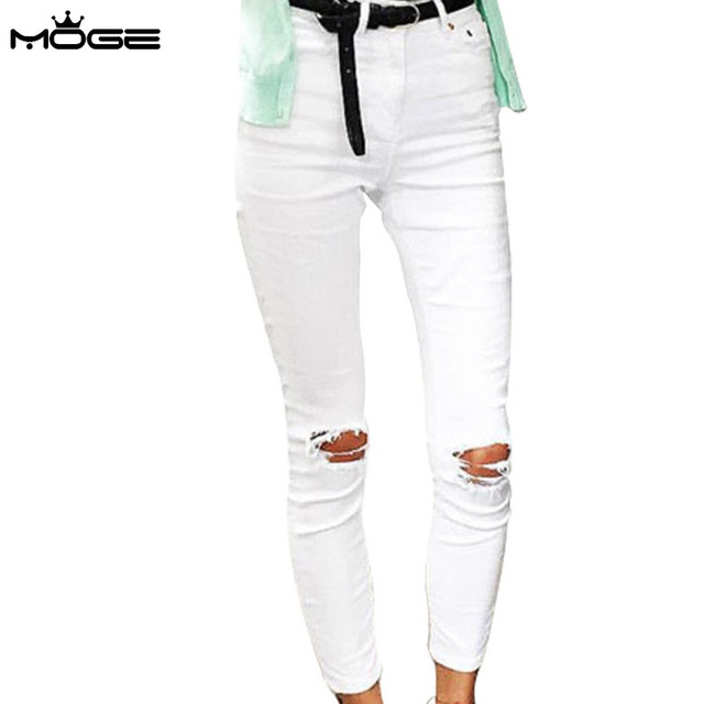 MOGE 2016 Women White Distressed Skinny Jeans High Waist cotton Petite  Jeans stretch white denim pencil pant plus size 9b3210776943