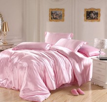 Light Pink Bedding sets Silk Satin Super king size queen double quilt duvet cover set fitted bed sheet linen bedspread sheets