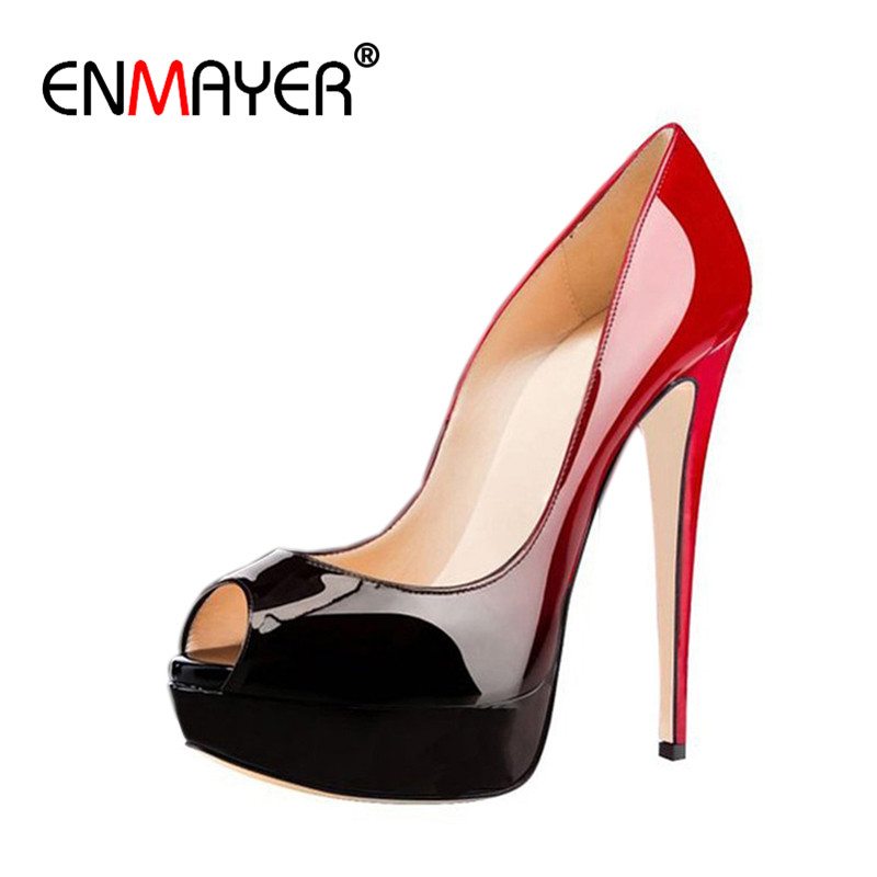 ENMAYER Sexy Women Gradient Black Red Patent Leather Skyhigh Party Shoes High Heels Evening Peep Toe Platform Stiletto Pumps